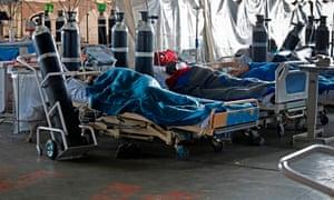 Patients in a temporary ward at Steve Biko hospital in Pretoria