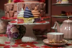 Poo-shaped cupcakes on display
