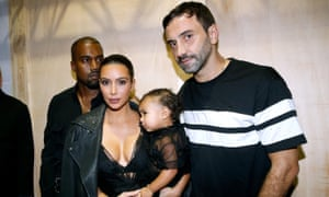 Riccardo Tisci backstage after the SS15 Givenchy show with Kim Kardashian.