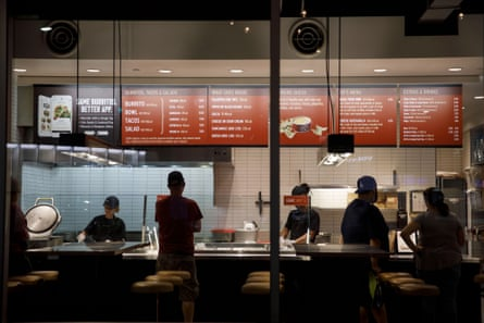 Customers place orders inside a Chipotle Mexican Grill Inc. restaurant in Culver City, California, U.S., on Tuesday, July 24, 2018. Chipotle is scheduled to release earnings figures on July 26.