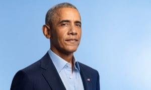 Head shot of former US president Barack Obama against blue background