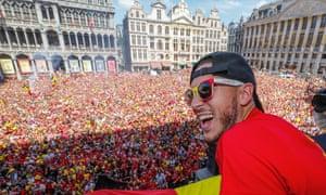Eden Hazard is greeted by jubilant fans in Brussels, Belgium