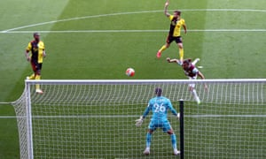 Burnley's Jay Rodriguez puts the ball in the net but it is ruled out for being offside.