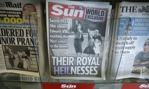 The Sun's cover with a photo of Queen Elizabeth as a child giving a Nazi salute.