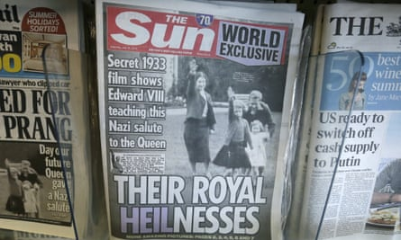 The Sun newspaper's front cover showing Queen Elizabeth as a child giving a Nazi salute.