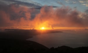 Low cloud makes for an unusual looking sunset over Valun on Cres Island