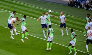 Gary Cahill (No 6) gives England the perfect start against Nigerial with a thumping headed goal from a corner.
