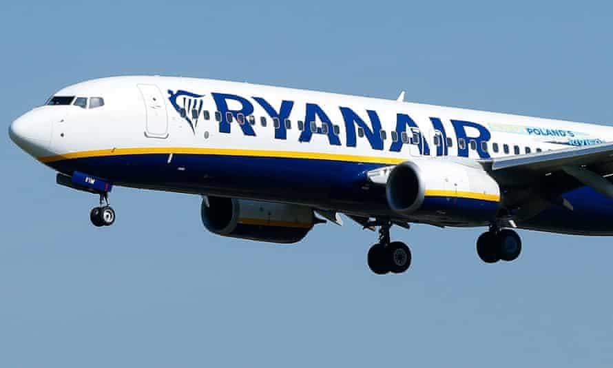 A Ryanair Boeing 737-800 aircraft lands at Barcelona's El-Prat airport