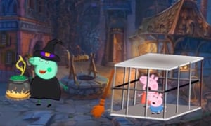 Peppa and George about to be cooked by a witch in a YouTube spin-off of the Peppa Pig series
