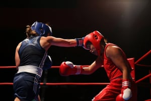 Elmir fights Efasha Kamarudin of Singapore in the 56kg weight division during the Sydney Fight League 9 in Sydney