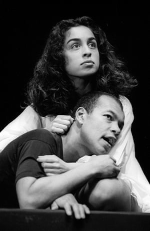 Roland Gift as Romeo and Daphne Nayar as Juliet in a Hull Truck production, directed by Bill Homewood and designed by Andrea Carr.