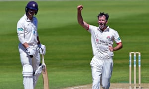 Lancashire's Graham Onions celebrates taking the wicket of Hampshire's Joe Weatherley.