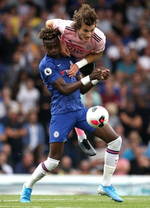 Chelsea's Tammy Abraham is challenged by Leicester City's Caglar Soyuncu during the 1-1 draw at Stamford Bridge. Leicester manager Brendan Rodgers has faced Chelsea on 13 occasions as a manager but is yet to register a victory against the Blues.