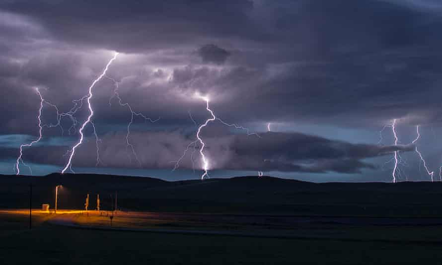 Lightning above Moorcroft, Wyoming, in the US.