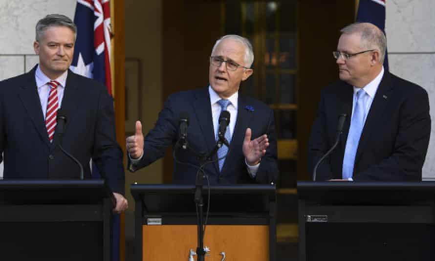Mathias Cormann, Malcolm Turnbull and Scott Morrison.