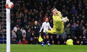 Nick Pope turns a shot around the post during Burnley's 1-1 draw with Tottenham on 7 March.