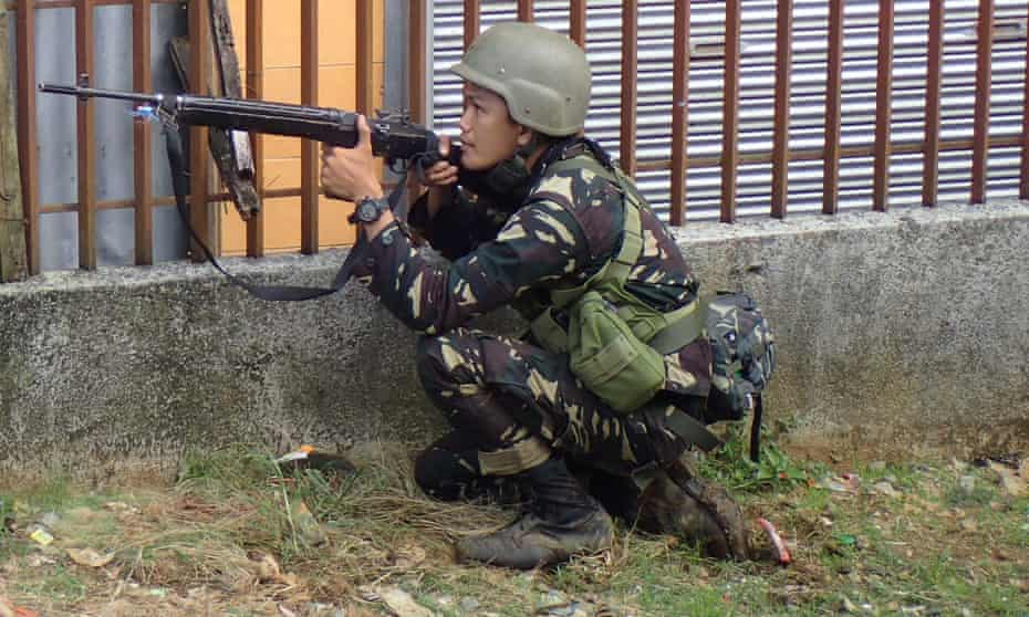 A Philippine soldier fighting Isis in the city of Marawi this week.