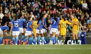 Matildas and Brazil in Newcastle