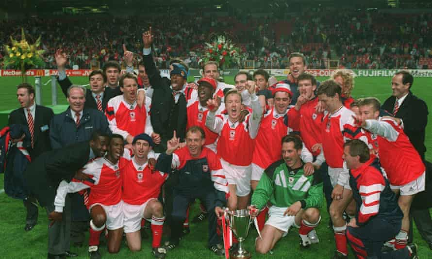 'Copenhagen was almost as good': Graham, far right, and his Arsenal team celebrate after the 1-0 win over Parma secured the 1994 Cup Winners Cup in Copenhagen.