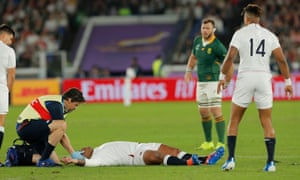 England's Kyle Sinckler is treated on the pitch before having to go off following a third-minute collision