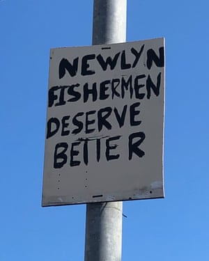 'Newlyn fishermen deserve better': an anonymous protest in Newlyn.