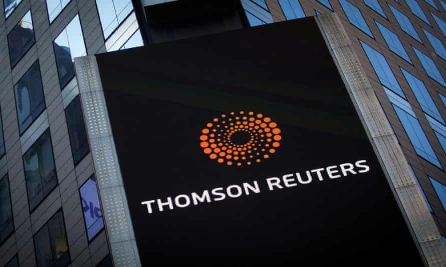 The Thomson Reuters logo on its building in Times Square, New York.