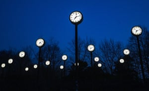 Duesseldorf, Germany. Zeitfeld, meaning time field, an art installation by German artist Klaus Rinke, on display ahead of the country's changing of the clocks