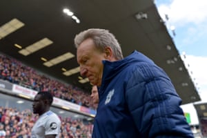 Neil Warnock walks off after the game at Turf Moor.