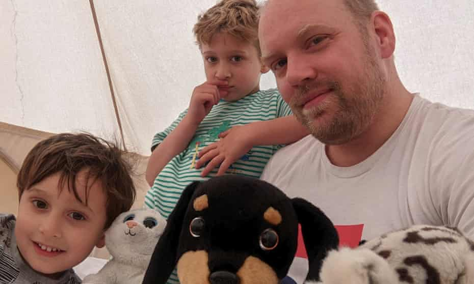 Stuart Heritage and his sons camping