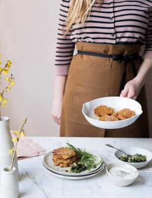 Chermoula, carrot and chickpea fritters with herb salsa