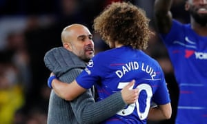 Pep Guardiola, whose Manchester City side lost for the first time this season, and David Luiz, who scored Chelsea's second