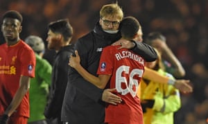 Jürgen Klopp with Trent Alexander-Arnold after Liverpool's 1-0 win at Plymouth.