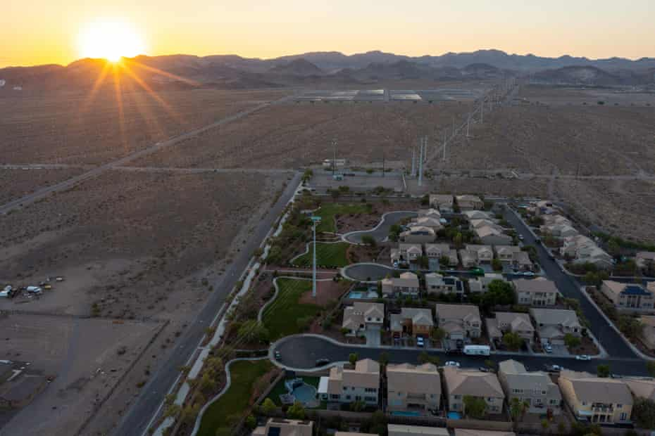 Urban sprawl spreads across the desert and, increasing water demands as drought continues to worsen in Henderson, Nevada, adjacent to Las Vegas.