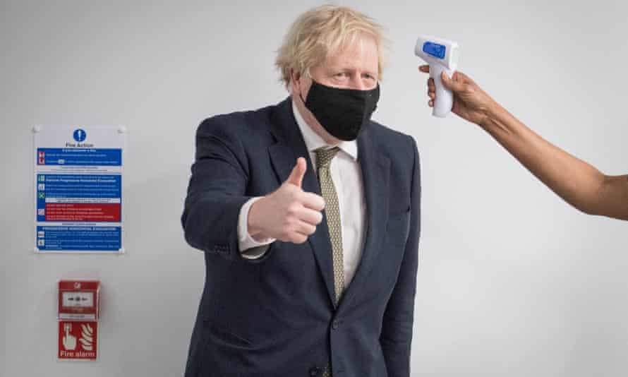 Boris Johnson during a visit to Chase Farm Hospital in London