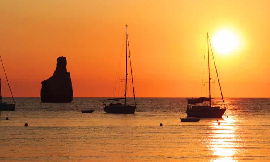 Sunset scene at Benirras beach, Ibiza