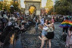 The fountain in Washington Square Park