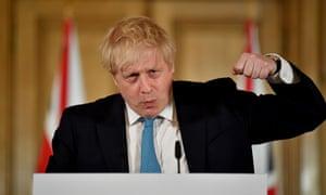 Boris Johnson at the weekly coronavirus briefing