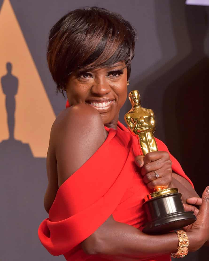 With her Oscar, awarded in 2017 for best supporting actress in Fences.