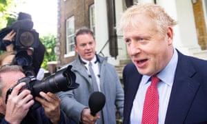 Boris Johnson seen leaving his house on Friday