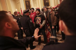 Protesters interact with Capitol Police inside the U.S. Capitol Building on January 06, 2021 in Washington, DC. Congress held a joint session today to ratify President-elect Joe Biden's 306-232 Electoral College win over President Donald Trump.