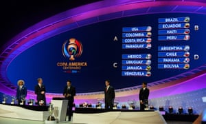 The draw team survey the Copa América set-up on Sunday in New York