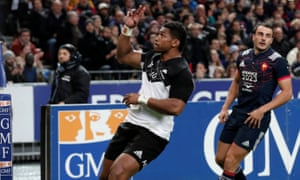 Waisake Naholo celebrates scoring the first of his two tries as the All Blacks comprehensively beat an injury-hit France in Paris.