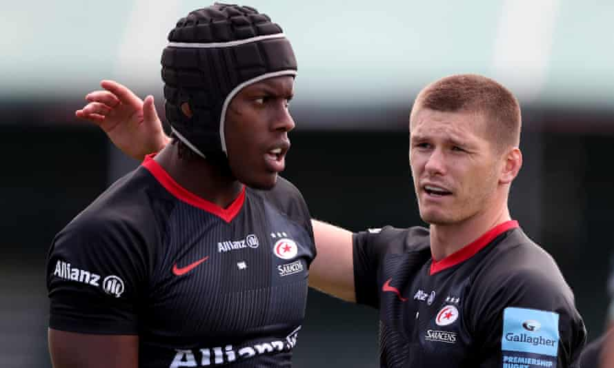 Maro Itoje (left) and Owen Farrell are among the six Lions hopefuls from Saracens.