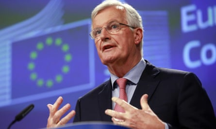 Michel Barnier speaking in Brussels