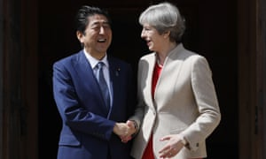 Shinzo Abe with Theresa May on a visit to the UK in April this year.