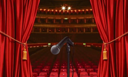 Limp microphone stand on theatre stage