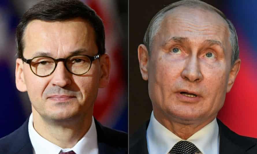 Mateusz Morawiecki (left) says Vladimir Putin is lying to deflect attention from recent failures