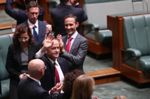 Opposition leader Bill Shorten acknowledges the applause from his side and supporters in the gallery after delivering his Budget in reply speech in the House of Representatives, Parliament House Canberra this evening. Thursday 5th May 2016.