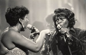 Aretha Franklin on stage with James Brown in 1987