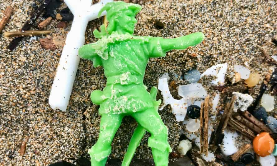 This plastic Robin Hood figurine, given away free in packets of Kellogg's cornflakes 50 or 60 years ago, was found during a beach clean at Perranporth in North Cornwall.